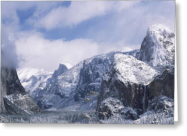 Bridal Veil Greeting Cards - Mountains And Waterfall In Snow, Tunnel Greeting Card by Panoramic Images