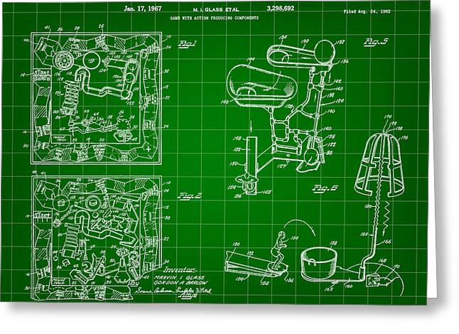 Ideal Digital Art Greeting Cards - Mouse Trap Board Game Patent 1962 - Green Greeting Card by Stephen Younts