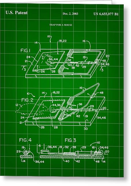Exterminator Greeting Cards - Mouse Trap Patent - Green Greeting Card by Stephen Younts