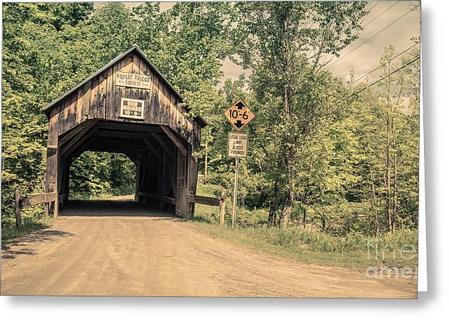 Chelsea Greeting Cards - Moxley Covered Bridge Chelsea Vermont Greeting Card by Edward Fielding