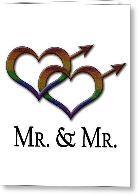 Homosexual Greeting Cards - Mr. and Mr. Gay Pride  Greeting Card by Tavia Starfire