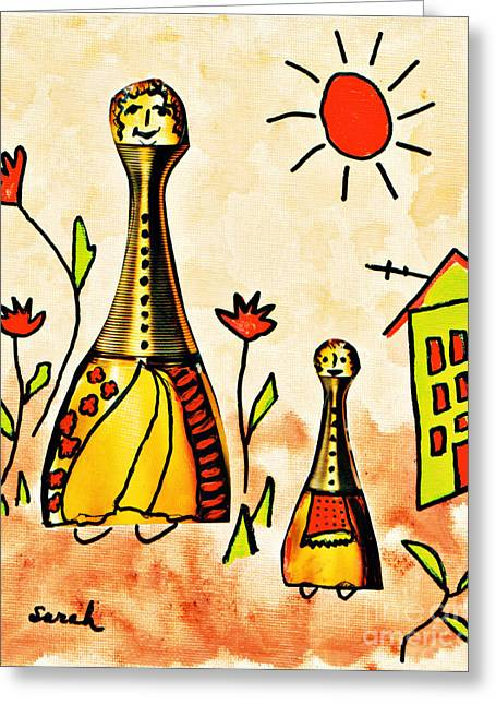 Sneaker Mixed Media Greeting Cards - Mrs Cologne and Her Daughter Greeting Card by Sarah Loft