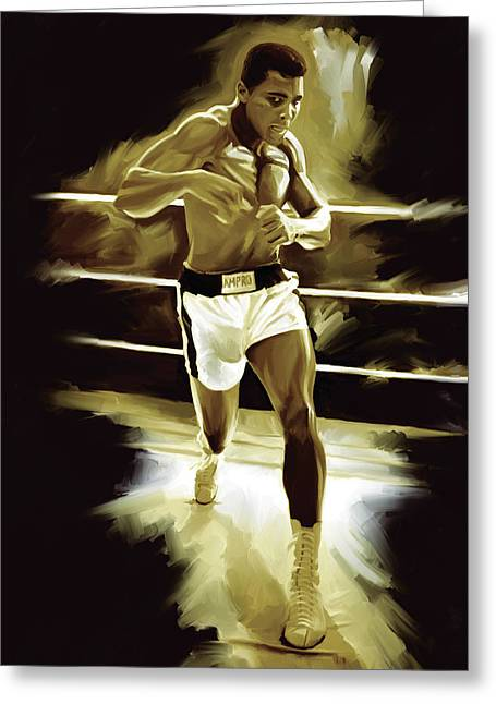 Boxing Greeting Cards - Muhammad Ali Boxing Artwork Greeting Card by Sheraz A