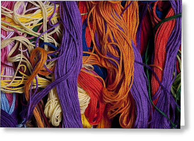 Textile Photographs Greeting Cards - Multicolored embroidery thread mixed up  Greeting Card by Jim Corwin