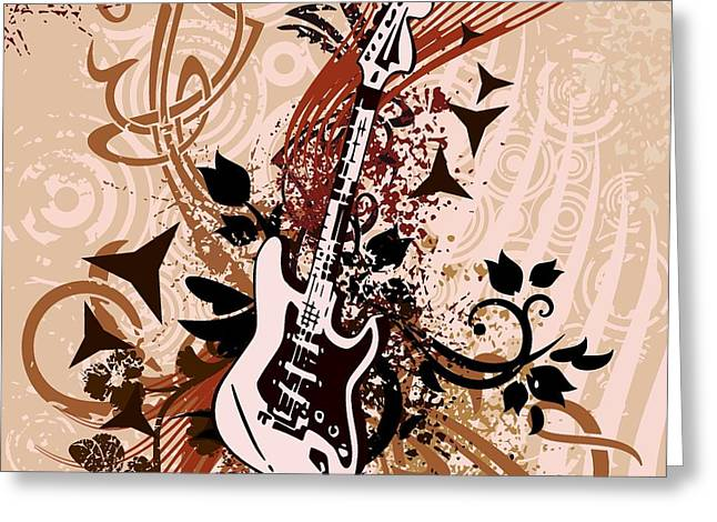 Grungy Drawings Greeting Cards - Musical Backgrounds Greeting Card by ClipartDesign