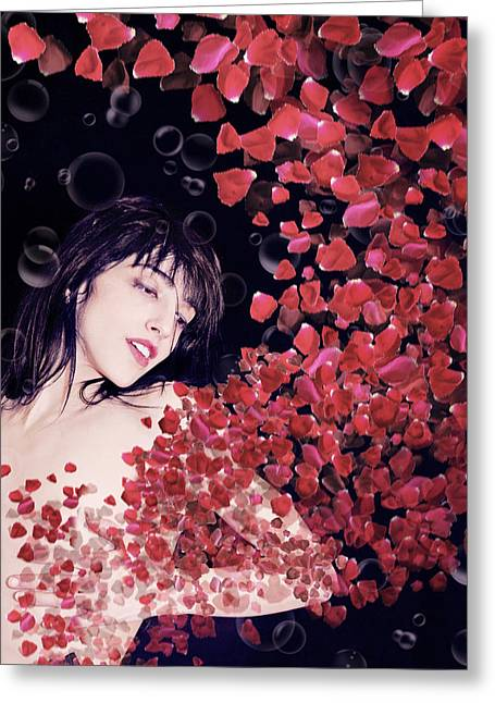 Rose Petals Greeting Cards - My Heart Has Been Stolen Greeting Card by Mayumi  Yoshimaru