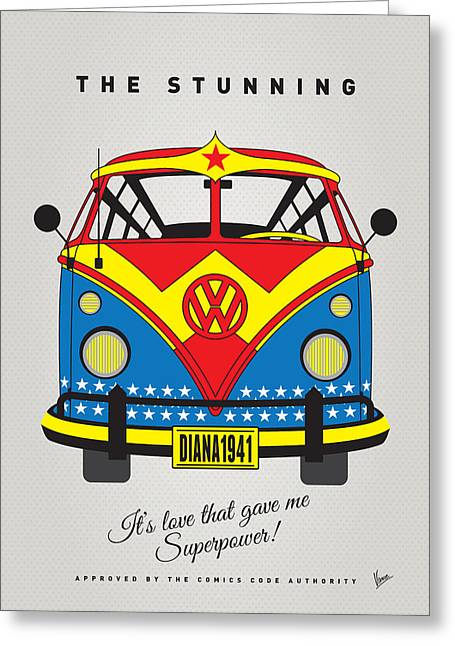 Batman Greeting Cards - MY SUPERHERO-VW-T1-wonder woman Greeting Card by Chungkong Art