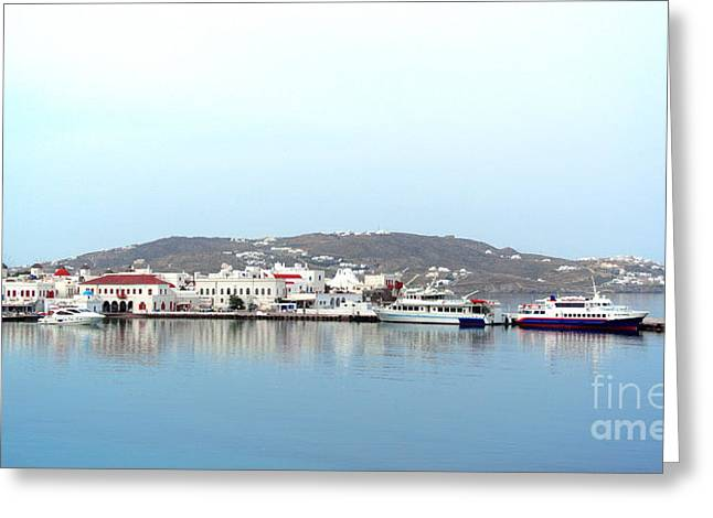 Mykonos Skyline Greeting Card by Sarah Christian