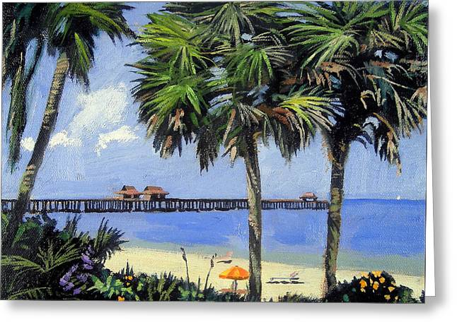 Sand Fences Paintings Greeting Cards - Naples Pier Naples Florida Greeting Card by Christine Hopkins