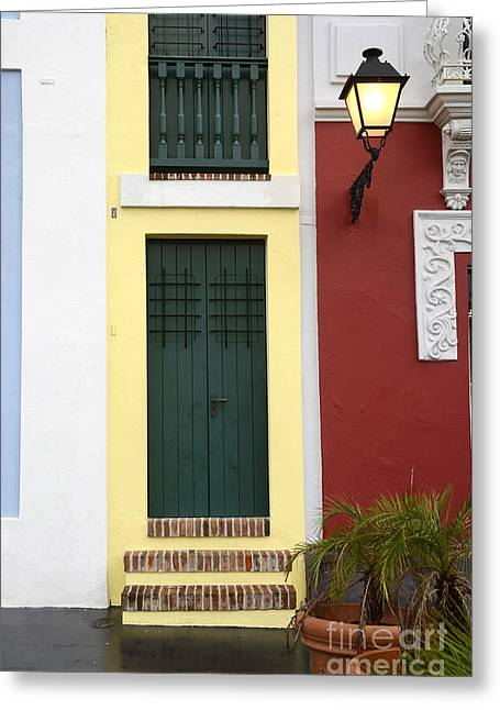 Historic Home Greeting Cards - Narrow Yellow Building in Old San Juan Greeting Card by Birgit Tyrrell
