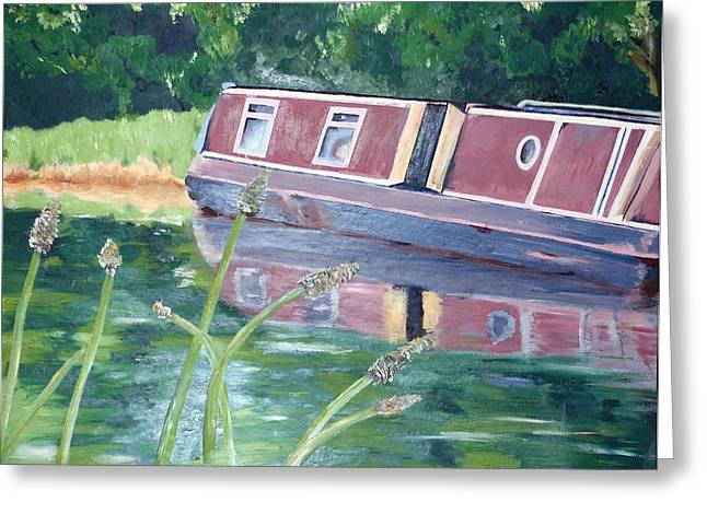 Abigail Greeting Cards - Narrowboat Greeting Card by Lady I F Abbie Shores