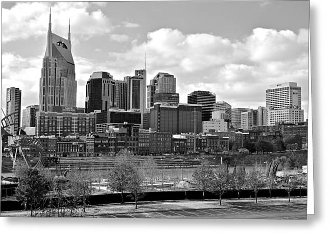 Batman Greeting Cards - Nashville Black and White Greeting Card by Frozen in Time Fine Art Photography