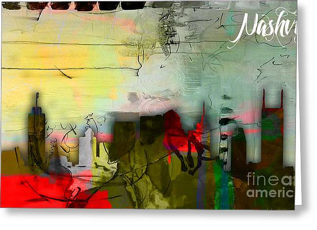 Nashville Tennessee Greeting Cards - Nashville Skyline Watercolor Greeting Card by Marvin Blaine