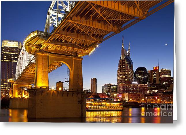 Cumberland River Greeting Cards - Nashville Tennessee Greeting Card by Brian Jannsen