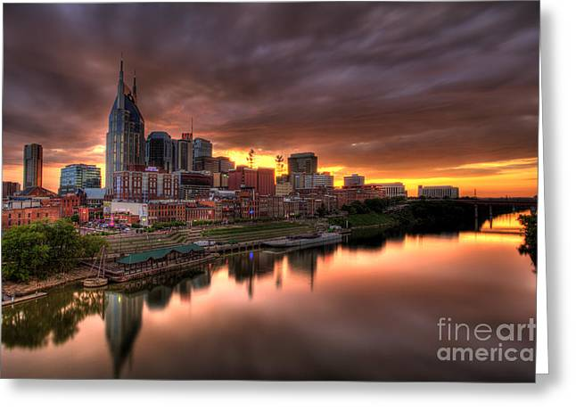 Recently Sold -  - Nashville Tennessee Greeting Cards - Nashville TN Skyline  Greeting Card by Jeremy Holmes