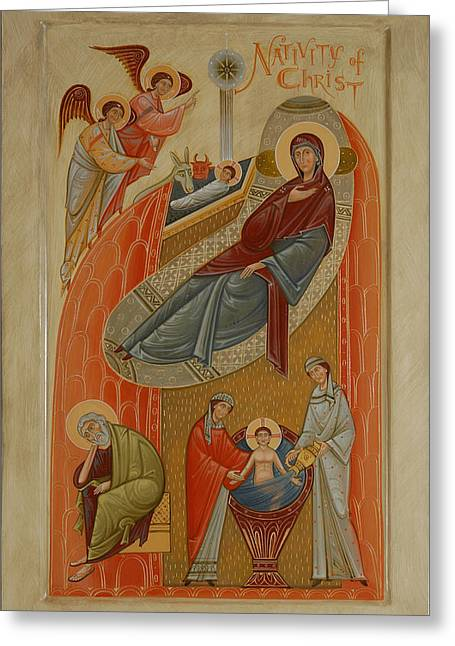 Handpainted Icon Greeting Cards - Icon of the Nativity of Christ Greeting Card by Phil Davydov and Olga  Shalamova