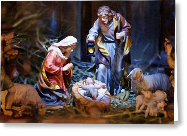 Religious Paintings Greeting Cards - Nativity Greeting Card by Victor Gladkiy