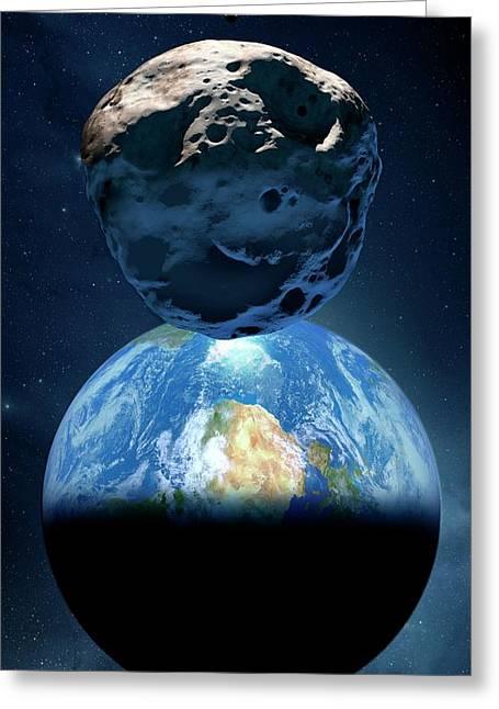 Near-earth Asteroid Greeting Card by Detlev Van Ravenswaay