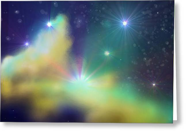 Twinkle Mixed Media Greeting Cards - Nebula Greeting Card by Ricky Haug