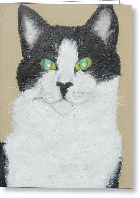 Gray Hair Pastels Greeting Cards - Nellie At Attention Greeting Card by Jeanne Fischer