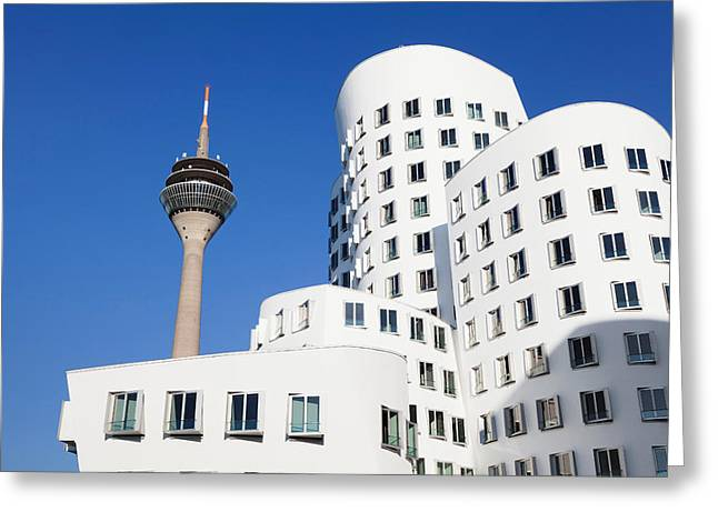 Communications Tower Greeting Cards - Neuer Zollhof Buildings Designed Greeting Card by Panoramic Images