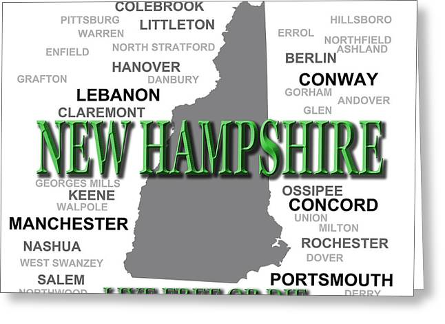 Concord Greeting Cards - New Hampshire State Pride Map Silhouette  Greeting Card by Keith Webber Jr