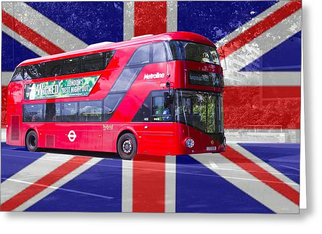 New London Red Bus Greeting Card by David French