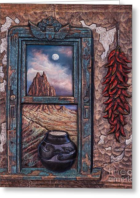 Adobe Mixed Media Greeting Cards - New Mexico Window Greeting Card by Ricardo Chavez-Mendez