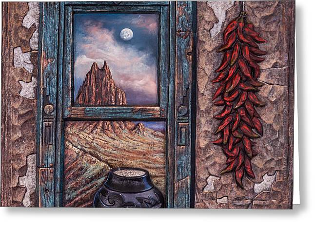 Ristra Greeting Cards - New Mexico Window Greeting Card by Ricardo Chavez-Mendez