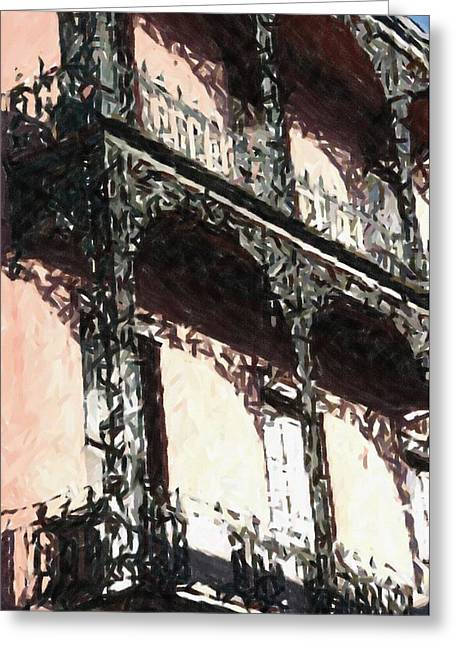 Louisiana Pastels Greeting Cards - New Orleans French Quarter Balcony Colors Louisiana Artwork Greeting Card by Olde Time  Mercantile
