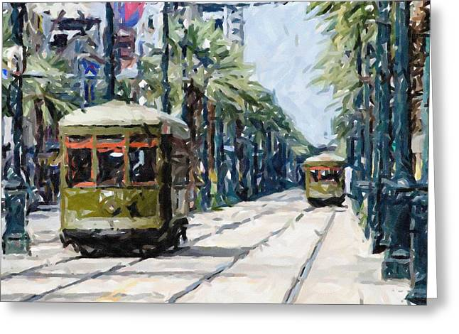 Louisiana Pastels Greeting Cards - New Orleans French Quarter Streetcar Louisiana Artwork Greeting Card by Olde Time  Mercantile