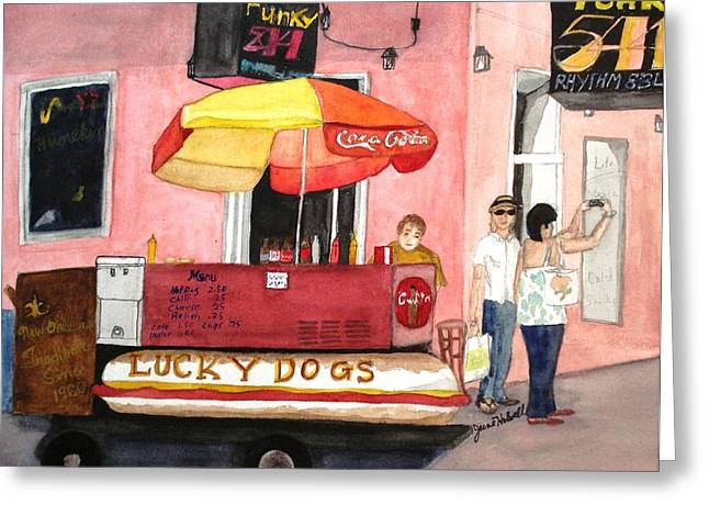 Lucky Dogs Paintings Greeting Cards - New Orleans Lucky Dogs Greeting Card by June Holwell