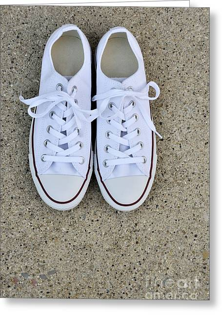 Pairs Greeting Cards - New White Converse Greeting Card by Birgit Tyrrell