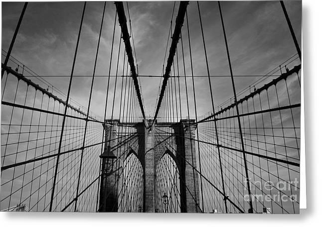 Bridge Posters Greeting Cards - New York City - Brooklyn Bridge Greeting Card by Thomas Richter