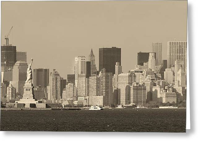 Historic Statue Greeting Cards - New York City Manhattan black and white Greeting Card by Songquan Deng
