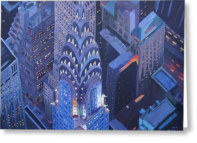 Midtown Paintings Greeting Cards - New York City Midtown Manhattan with Chrysler Building at Night Greeting Card by M Bleichner