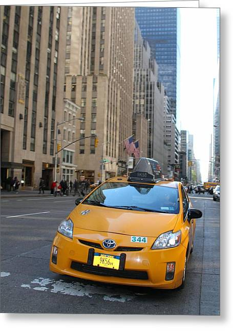 Wall Street Greeting Cards - New York City Taxi Greeting Card by Dan Sproul