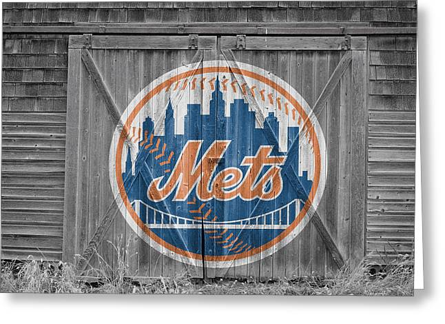 Barn Door Greeting Cards - New York Mets Greeting Card by Joe Hamilton