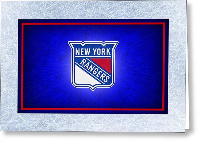 Skates Greeting Cards - New York Rangers Greeting Card by Joe Hamilton