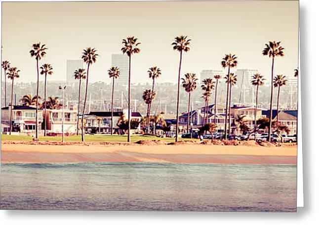 Newport Beach Skyline Retro Panorama Photo Greeting Card by Paul Velgos