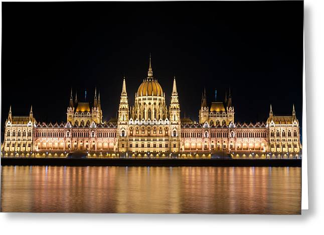 Decorate Pyrography Greeting Cards - Night detail of the Parliament building in Budapest Hungary Greeting Card by Oliver Sved