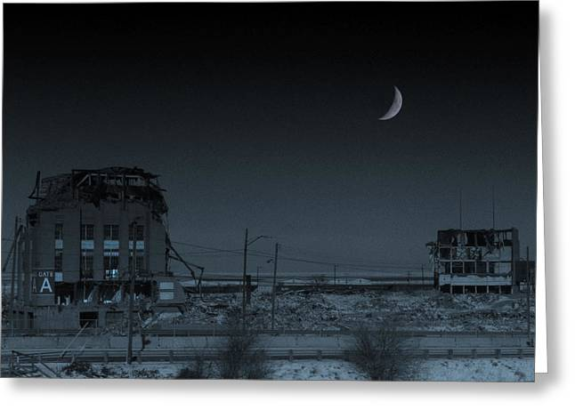 Lunar Crescent Greeting Cards - Night Falls For The Last Time On Cleveland Stadium Greeting Card by Kenneth Krolikowski