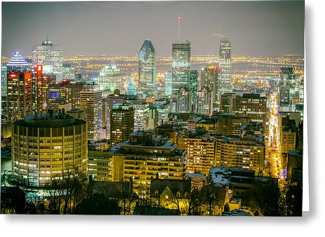 Recently Sold -  - Bay Bridge Greeting Cards - Night Lights of Montreal Greeting Card by Mountain Dreams