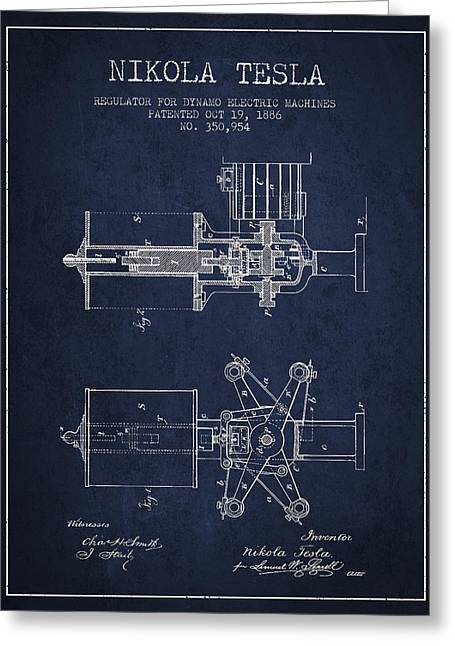 Electricity Greeting Card featuring the drawing Nikola Tesla Patent Drawing From 1886 - Navy Blue by Aged Pixel
