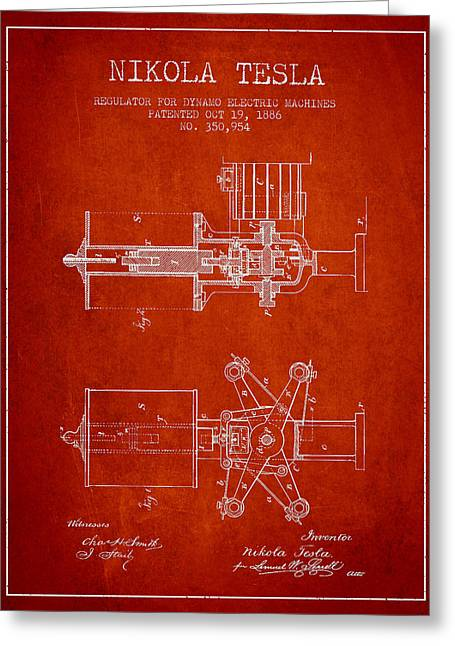Technical Digital Art Greeting Cards - Nikola Tesla Patent Drawing From 1886 - Red Greeting Card by Aged Pixel