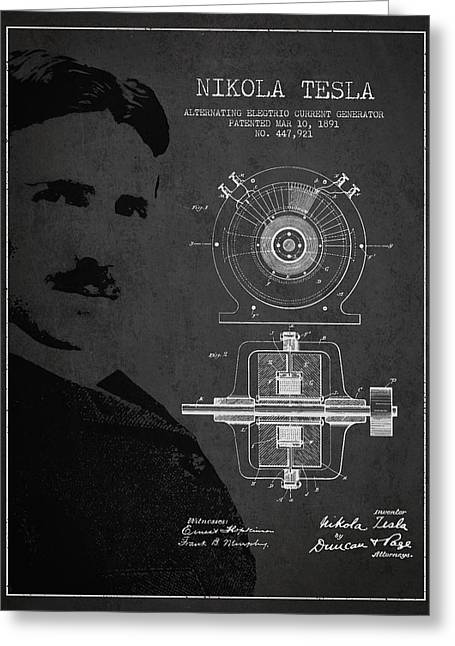 Electricity Greeting Card featuring the drawing Nikola Tesla Patent From 1891 by Aged Pixel