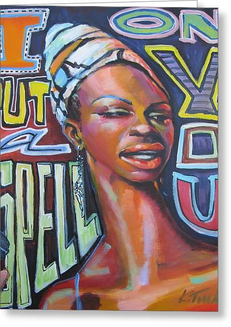 Nina Simone Greeting Cards - Nina Greeting Card by Katharine Turk-Truman