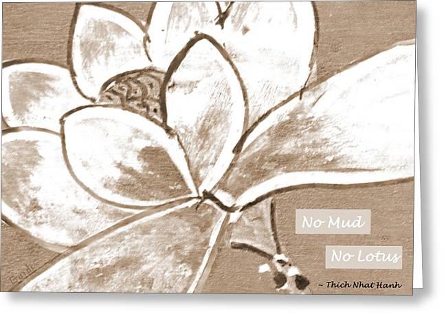 Spa Art Mixed Media Greeting Cards - No Mud No Lotus Greeting Card by SL Guidi