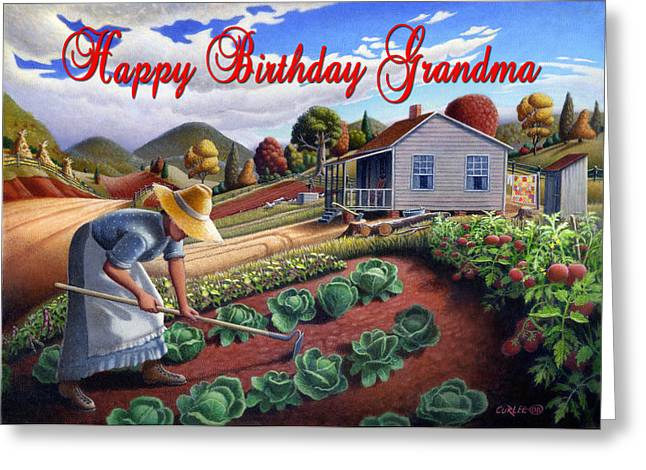 Amish Family Paintings Greeting Cards - no13A Happy Birthday Grandma Greeting Card by Walt Curlee