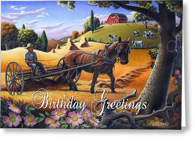 Folksy Greeting Cards - no4 Birthday Greetings Greeting Card by Walt Curlee